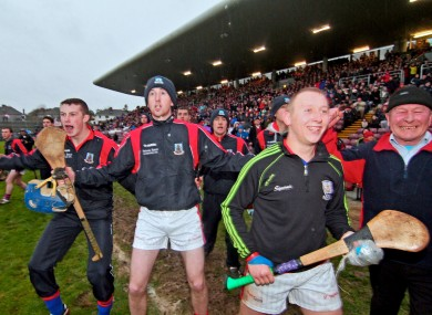 St Thomas club players wait for the final whistle at yesterday's Galway county final.
