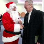 Archbishop of Dublin Diarmuid Martin talks to Santa