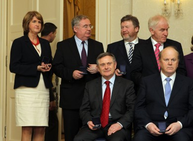 Overspending at the Departments of Joan Burton (back, left) and James Reilly (back, second from right) meant Brendan Howlin and Michael Noonan (front row) needed to make alternative arrangements.