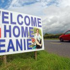 The most famous GAA transfer of the year takes a unique swerve with Cavan drawn to face Kildare. A placard greets former Breffni and new Lilywhite attacker Seanie Johnston on his journey home. (INPHO/Donall Farmer).