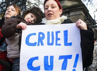 Pictured at a protest against cuts to the Respite Care Grant yesterday, Louise Poole with her son Tiarnan.
