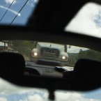 A truck behind the car Sean was travelling in. 