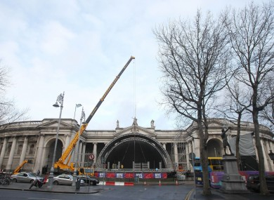 Preparations for Dublin's New Year's Eve concert on College Green earlier today