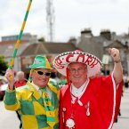 Cheering them on. Donegal fan John Porter from Buncrana and Cork supporter Cyril Kavanagh from Douglas get set to roar on their heroes in Croke Park. (INPHO/James Crombie).