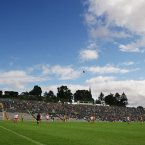 Clones watches on as Donegal's Michael Murphy kicks a free during the second-half of their Ulster semi-final. Donegal prevail by two points. (INPHO/Cathal Noonan).