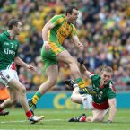 Strike One. Michael Murphy of Donegal unleashes a thunderbolt to the net after only four minutes of the showdown for Sam Maguire. (INPHO/Donall Farmer).