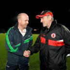 Old friends were reunited in Healy Park in Omagh. Peter Canavan and Mickey Harte soldiered together for Errigal Ciaran and Tyrone, but now Canavan dons the Fermanagh bainisteoir bib. (INPHO/Presseye/William Cherry).