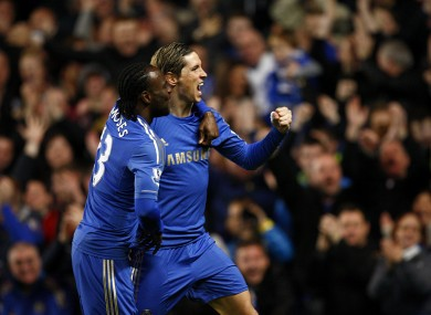 Torres and Victor Moses celebrate Chelsea's opener. 