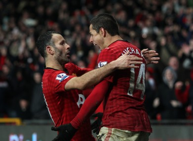 Ryan Giggs congratulates Javier Hernandez on his winner. 