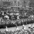 June 1913: the funeral procession of Emily Wilding Davison, after she was killed by throwing herself under King George V's horse at the Epsom Derby. (PA Archive)