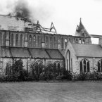 St Catherine's church, Hatcham, London, burnt down by suffragettes on 6 May, 1913. (PA Archive)