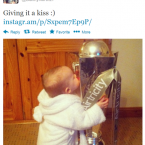 North Junior gets her hands on the League of Ireland trophy. 