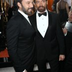 Ben Affleck and Hugh Jackman in a beard-off. Who would win? They both do good beard. (Photo by Matt Sayles/Invision/AP)