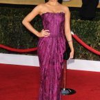 Modern Family's Sarah Hyland brightens the evening in some patterned fuschia. (Vince Flores/AFF/EMPICS Entertainment)