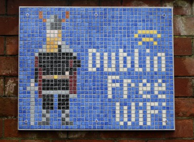 One of the mosaic tiles which can be found in St Patrick's Park in Dublin.