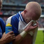 A disconsolate Mullane at the end of an agonizing defeat.
