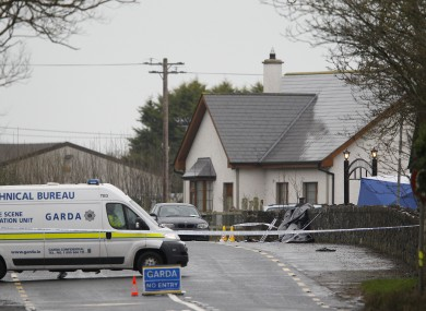 Forensic Gardai at Lordship Credit Union, Bellurgan, Co Louth, where Detective Garda Adrian Donohoe was shot dead.