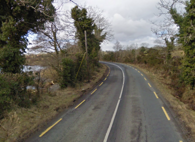 The main Laghy-Pettigo road at Bannus, where this morning's accident occurred.