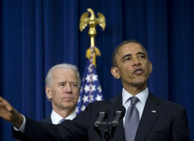 President Barack Obama, accompanied by Vice President Joe Biden, talking about proposals to reduce gun violence.