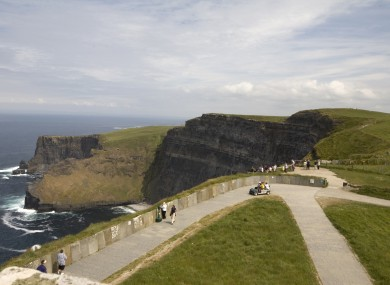 Visitors at the Cliffs of Moher in County Clare.