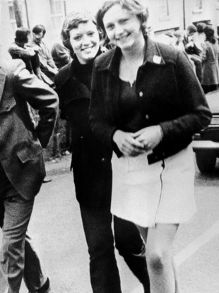 In this file photo dated 4 June, 1972 Dolours Price (left) and her sister Marian attend a civil rights demonstration in Belfast, Northern Ireland.