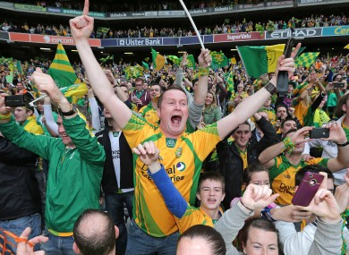 Donegal fans celebrate during the All-Ireland final.