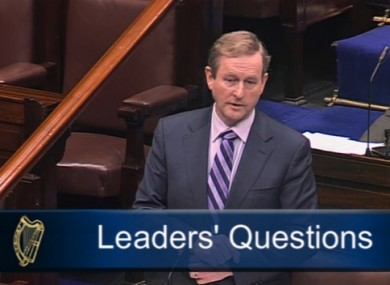 Taoiseach Enda Kenny in the Dáil today.