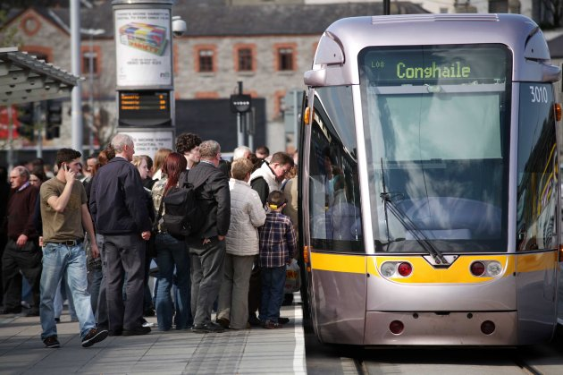 File Pics Passenger numbers on Luas services in Dublin increased last year by approximately 300,000 on the 2011 figures.