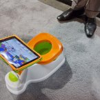 The iPotty for iPad potty training device is see on display at the Consumer Electronics Show in Las Vegas. No app is available to go with the trainer, but the idea is to keep the child on the toilet for as long as necessary by keeping them digitally entertained. (AP Photo/Julie Jacobson)