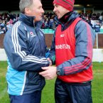 Dublin manager Jim Gavin and Carlow manager Anthony Rainbow after the game. Credit: INPHO/James Crombie