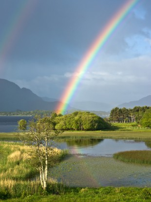 A rainbow over the Lakes of Killarney.