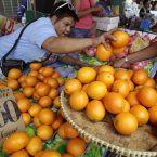 A Filipino vendor arranges oranges at her makeshift store in downtown Manila, Philippines. Many Filipinos believe that having 12 round fruits of different kinds on the family table will bring good luck during the New Year. (AP Photo/Aaron Favila)