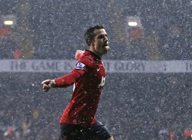 Van Persie celebrates his goal.