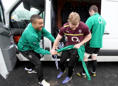 Simon Zebo gets Keith Earls training jersey.