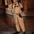 Bill Murray accepts an award dressed as a ghostbuster. (AP Photo/Chris Pizzello)