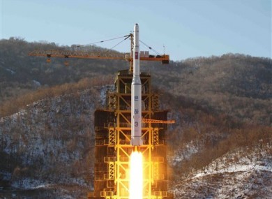 File picture of North Korea's Unha-3 rocket lifts off from the Sohae launch pad in North Korea.