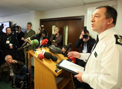 Police Service of Northern Ireland Chief Constable Matt Baggott speaks to the media at police headquarters yesterday