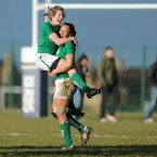 Alison Miller and Sophie Spence celebrate at the final whistle.
