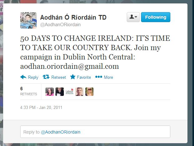 Aodhan O Riordain election date called