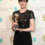 Anne Hathaway put on her surprised face as she won another award at the BAFTAs. She also wore a nice black dress, and she wasn't alone...