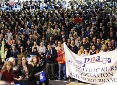 Thousands of frontline services staff attended a rally against pay cuts at the National Basketball arena in Tallaght yesterday.