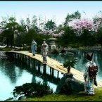 Geishas on a bridge over a pond in the Fugetsu Garden, circa 1915-1920. Flickr/Rob Oeschle (originally T. Enami)