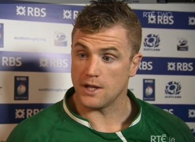 Jamie Heaslip after yesterday's game. 