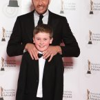 Chris O'Dowd and David Rawle arriving on the the red carpet for the 10th Annual Irish Film & Television Awards at the Convention Centre, Dublin.
