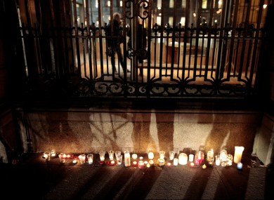 Candles placed outiside grounds of Leinster house by relatives of victims on 19 February.