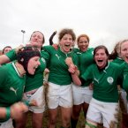Irelands Joy Neville, Ailis Egan, jenny Murphy, Lauren Day, Nora Stapleton and Laura Guest celebrate. 