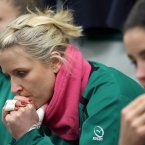 Joy Neville in the dressing room before the game.