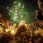 Fireworks explode over the Basilica Menor after a procession honouring St. John Don Bosco, Catholic Patron Saint of Magicians, in Panama City. (AP Photo/Arnulfo Franco)