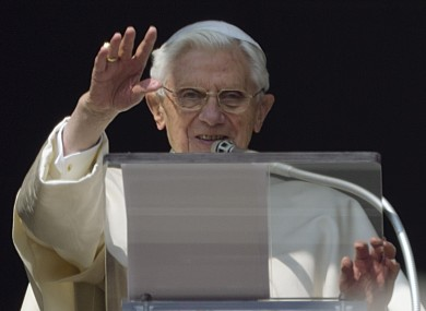 Pope Benedict XVI at his second-last Angelus prayer from the window of his apartments at the Vatican last Sunday.