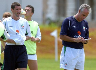 Former Ireland manager Mick McCarthy (right) and Roy Keane during a World Cup training session with the Irish squad during a Republic of Ireland training session in Saipan.
